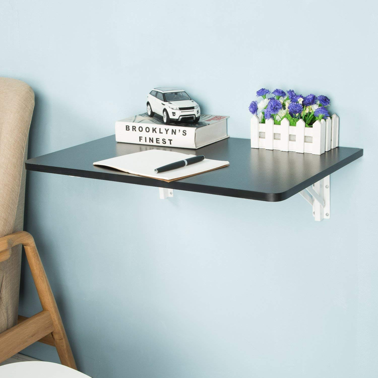 Edencomer Black Wall-Mounted Folding Table