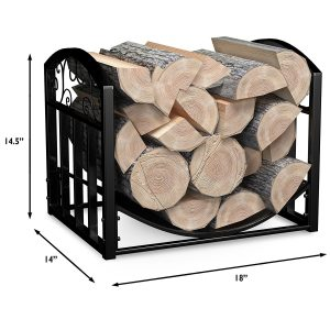 Firewood Cut Wood Rack Holder with Scrolls